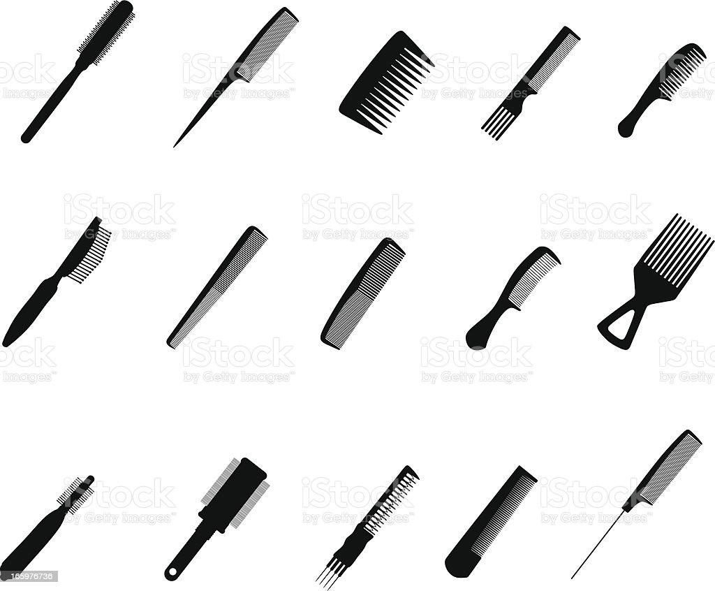 Comb silhouettes vector art illustration