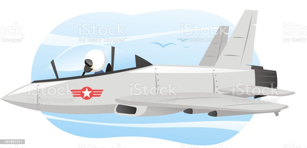 Combat Airplane with Pilot Flying vector art illustration