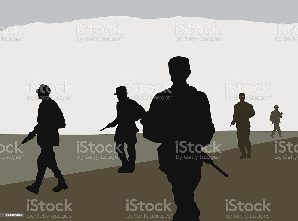 Combat Soldiers royalty-free stock vector art