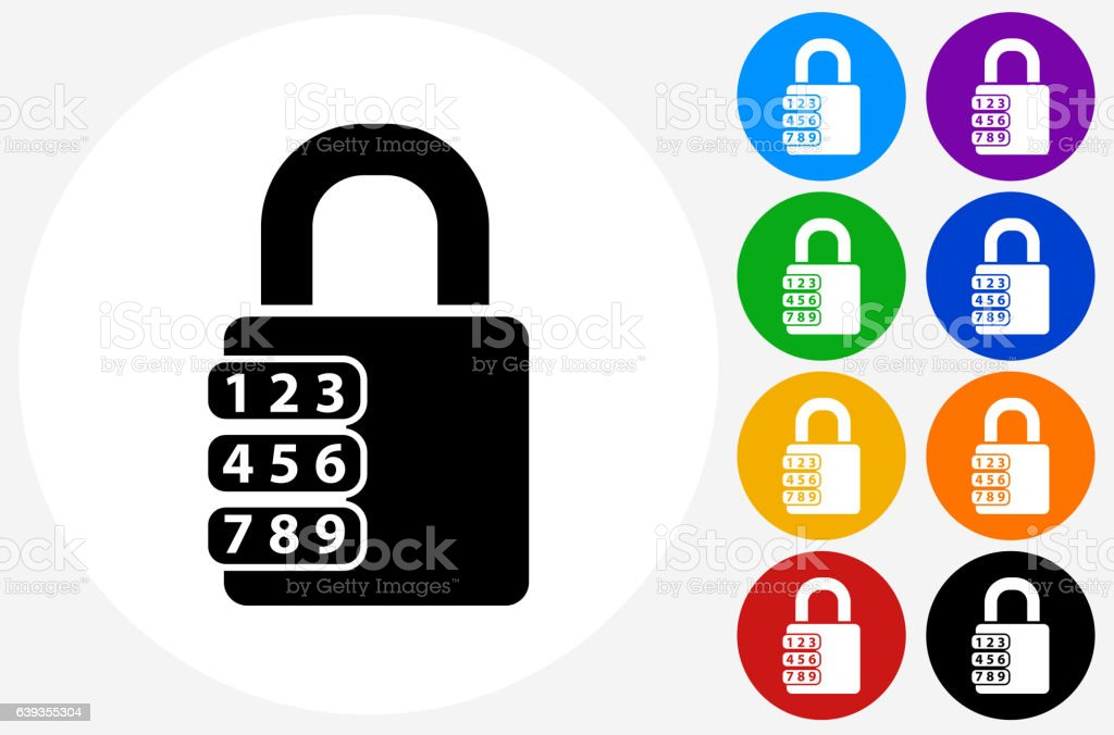 Combination Lock Icon on Flat Color Circle Buttons vector art illustration