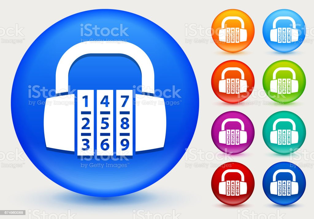 Combination Lock Icon on Shiny Color Circle Buttons vector art illustration