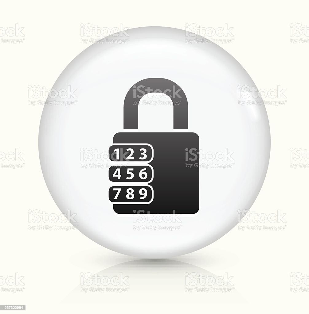 Combination Lock icon on white round vector button vector art illustration
