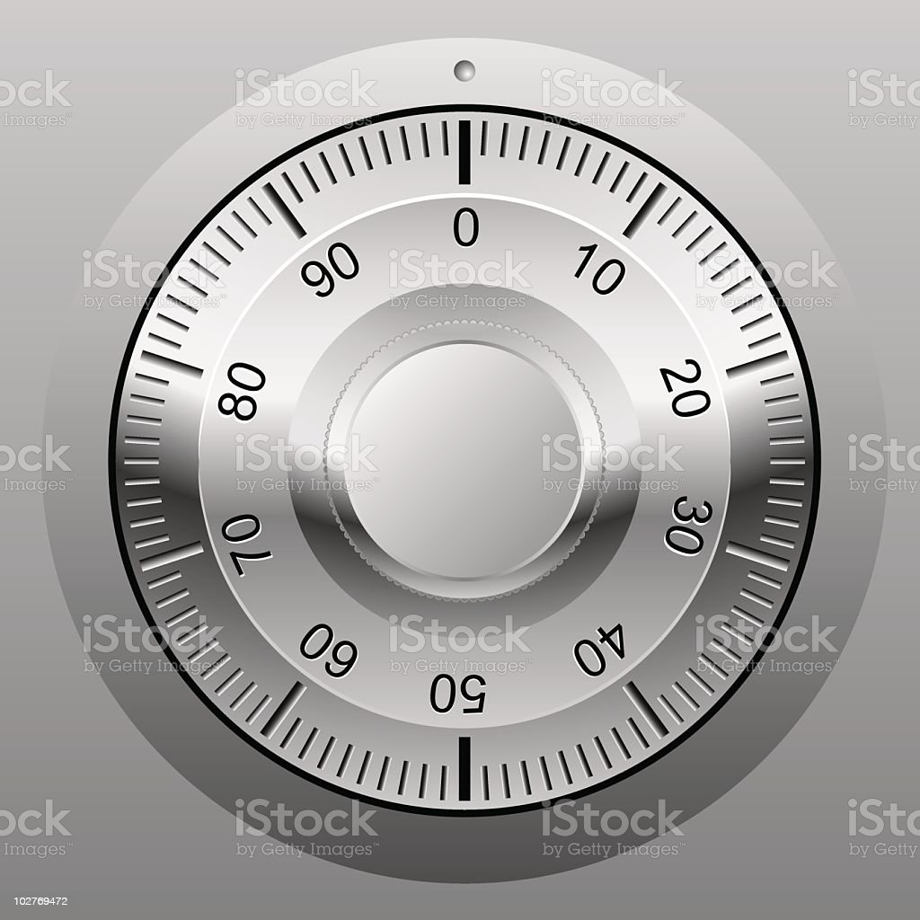 Combination lock wheel cartoon royalty-free stock vector art