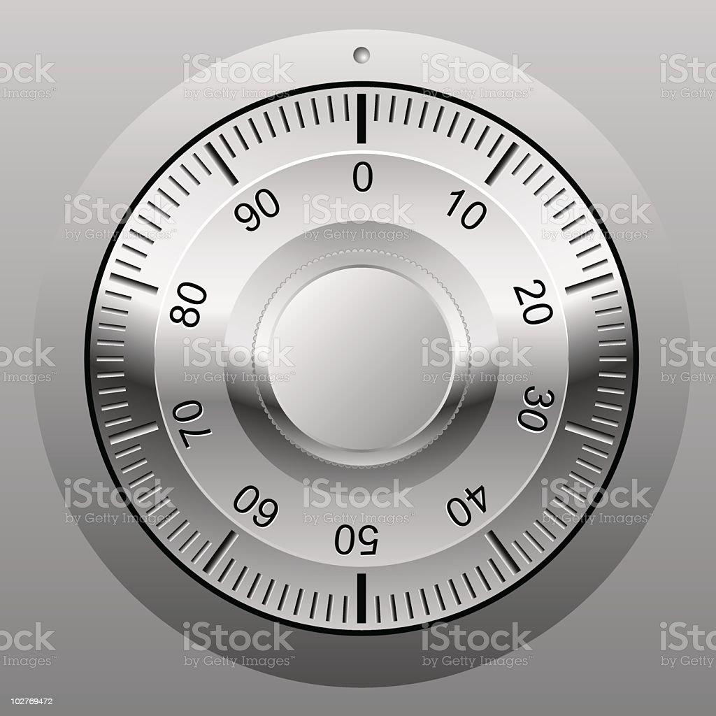 Combination lock wheel cartoon vector art illustration