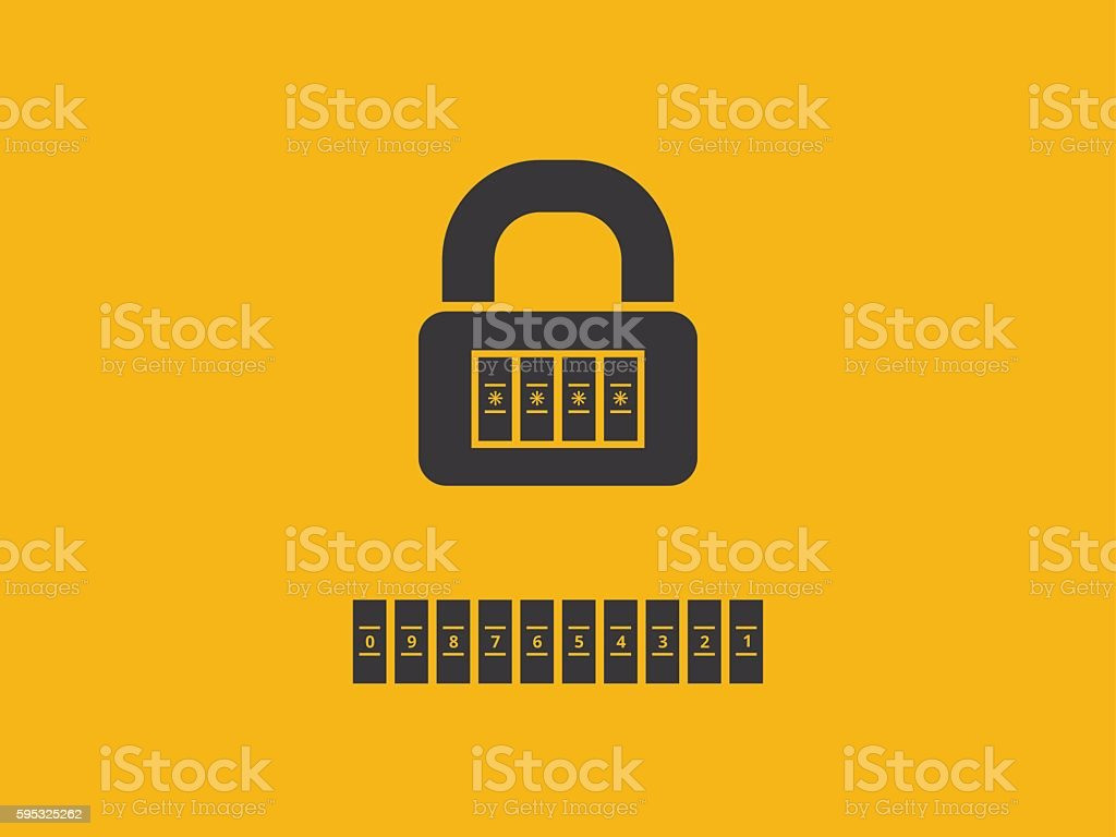 Combination lock with password vector art illustration