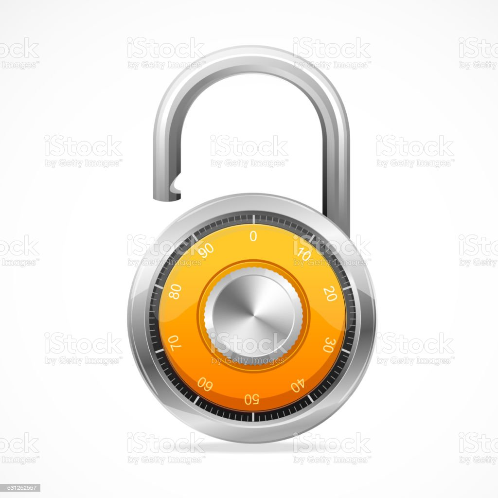 Combination Opened Lock, Security Concept. vector art illustration