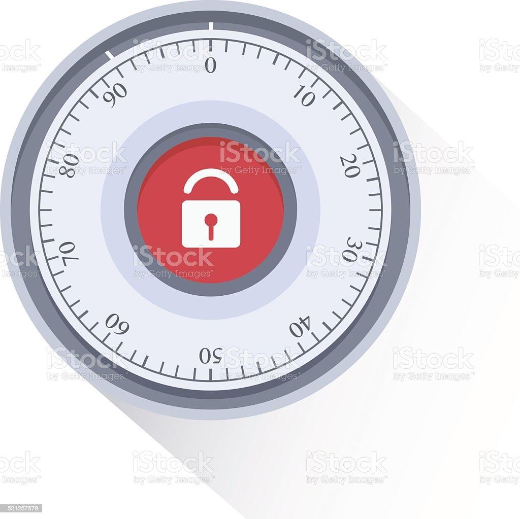 Combination Safe Lock.Combination Lock. Flat Vector Illustration. vector art illustration