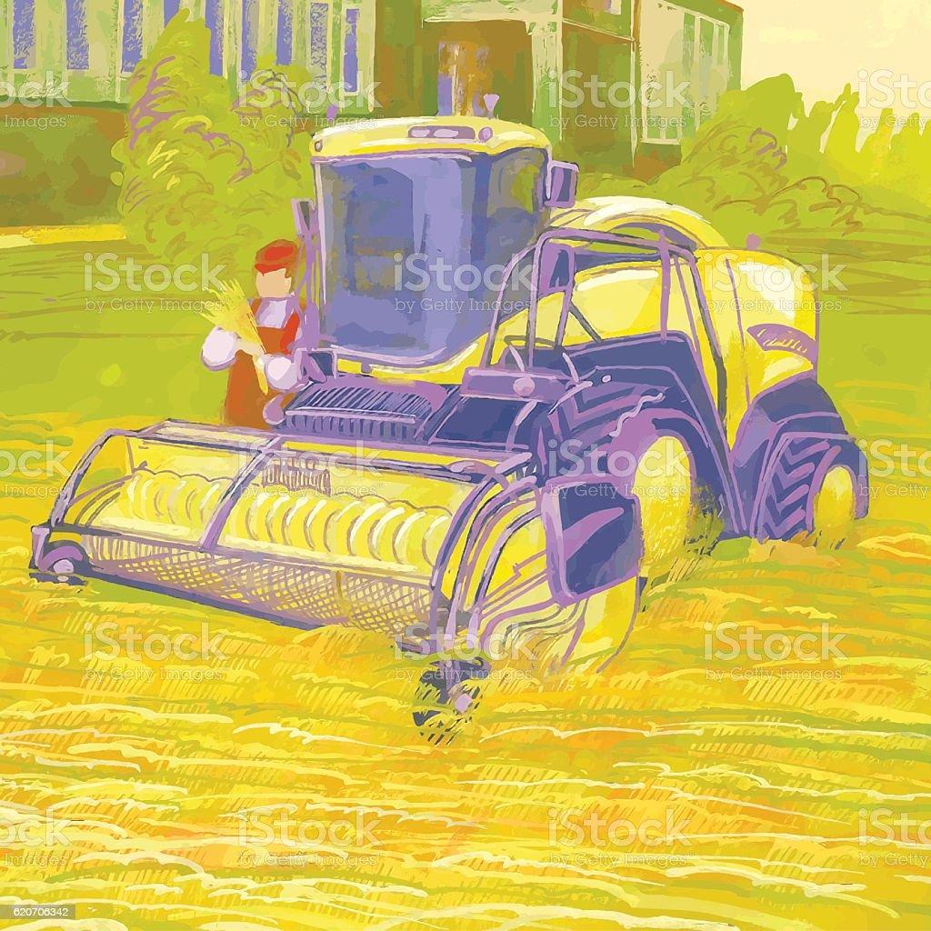 Combine harvester and harvester operator. vector art illustration