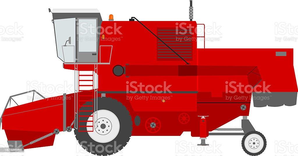 Combine harvester vector art illustration