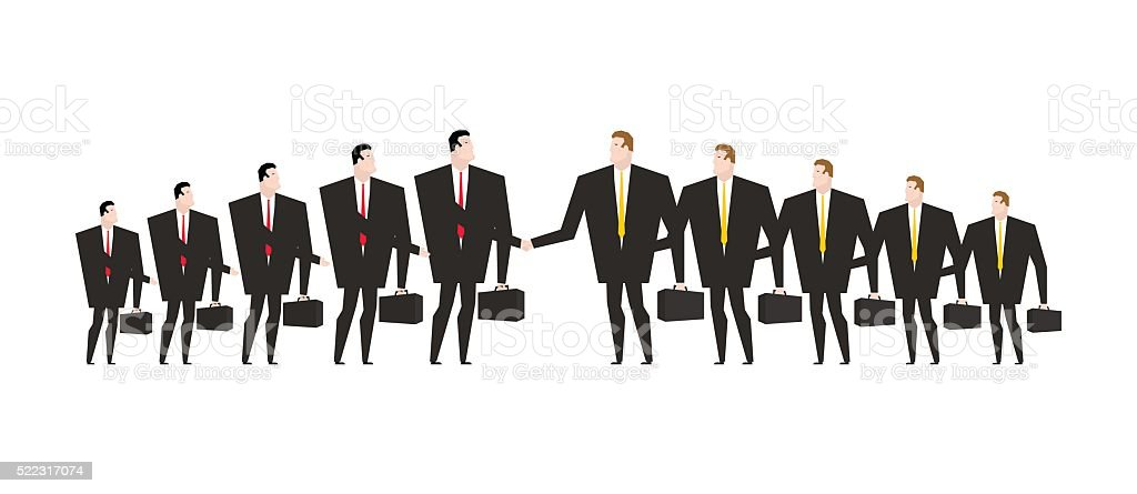 Combining corporations. Business deal. Merger. Managers shaking vector art illustration