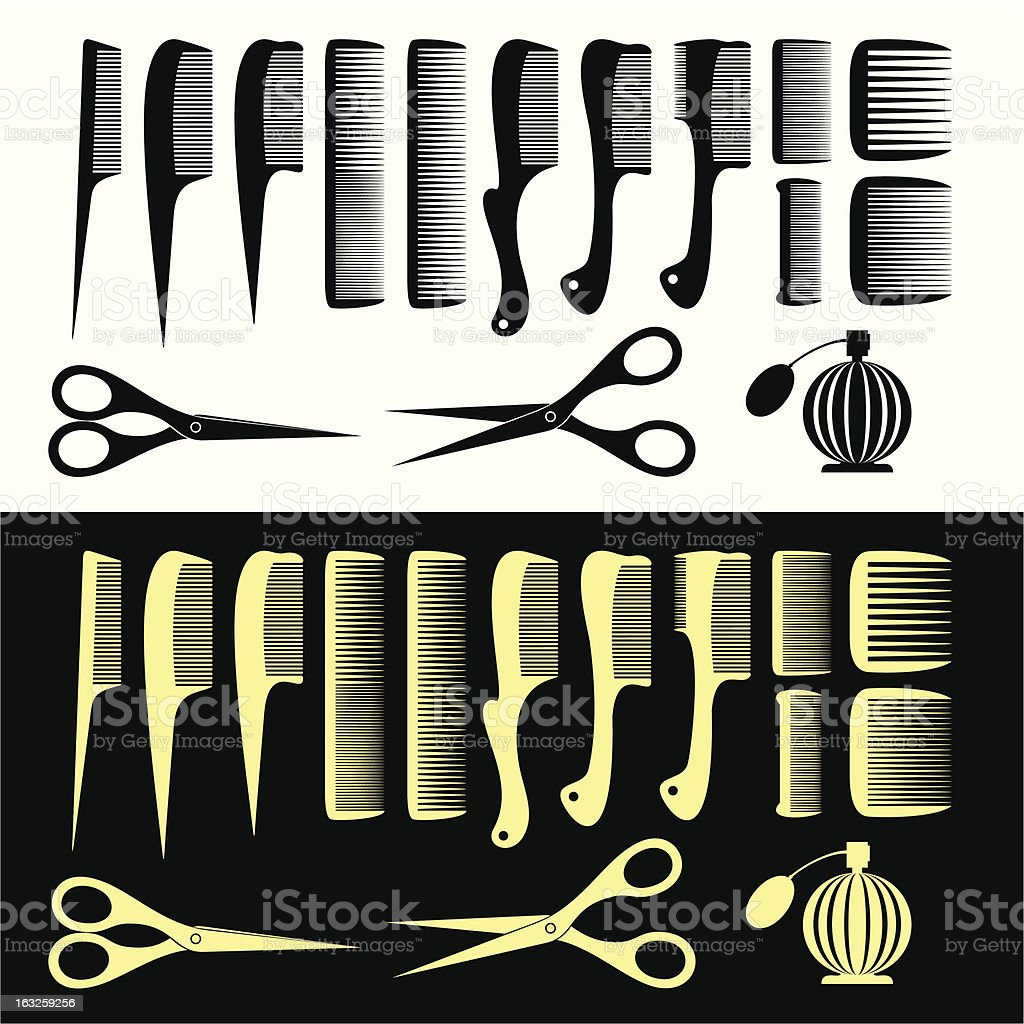 Combs and scissors royalty-free stock vector art