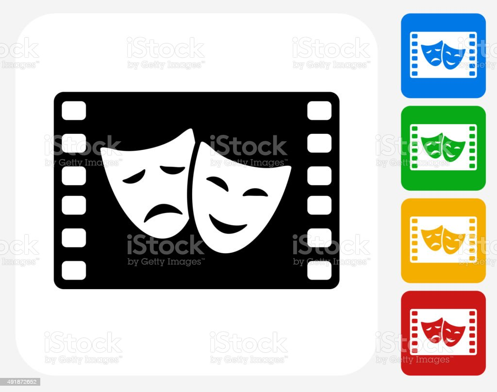 Comedy and Tragedy on Film Icon Flat Graphic Design vector art illustration