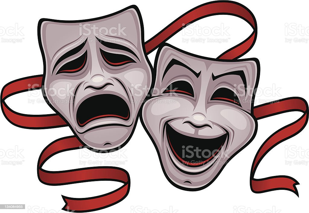 Comedy and Tragedy Theater Masks royalty-free stock vector art