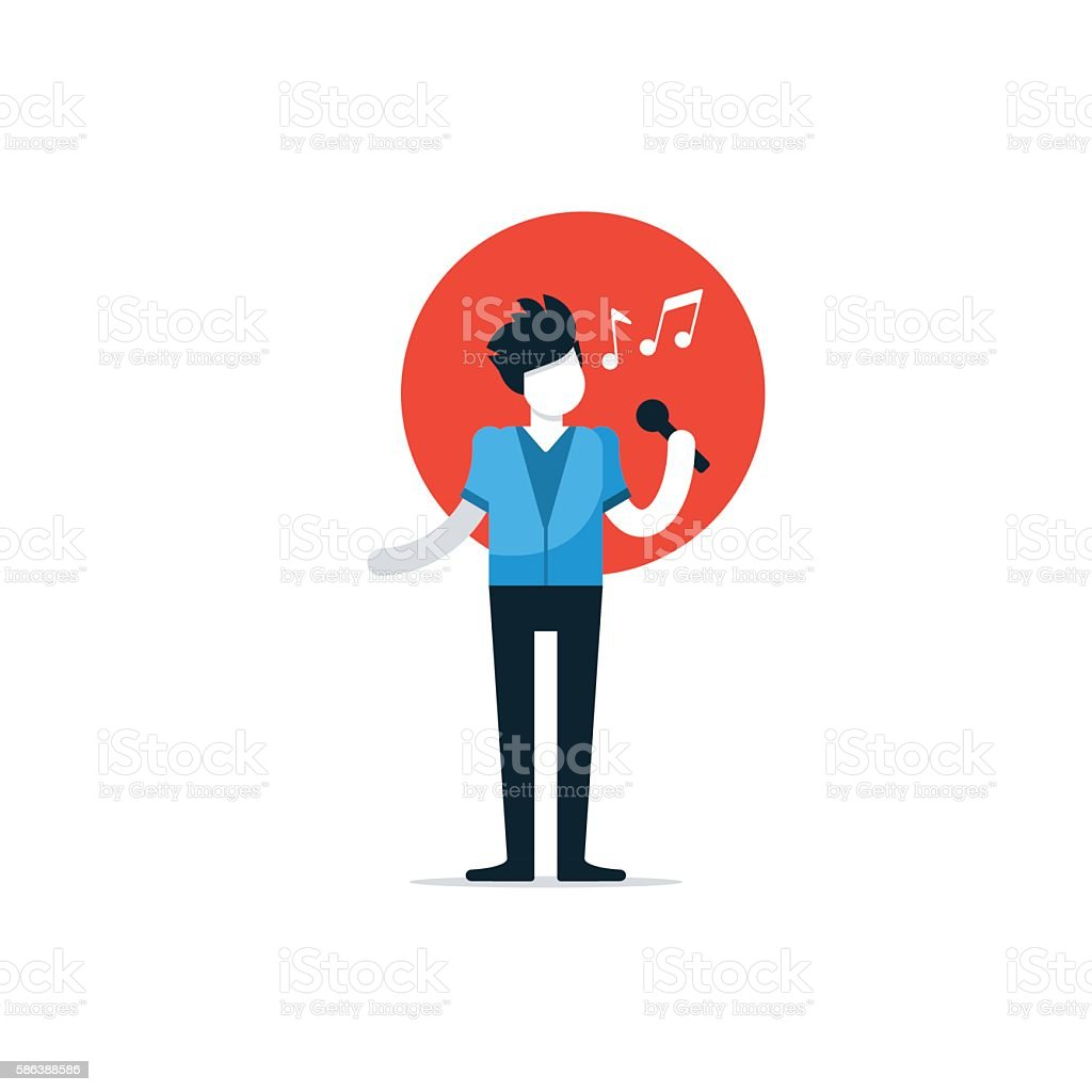Comedy club night show, comedian performace, singer singing a song vector art illustration