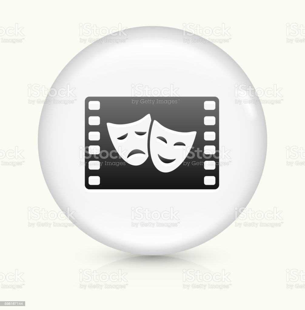 Comedy  Tragedy on Film icon on white round vector button vector art illustration