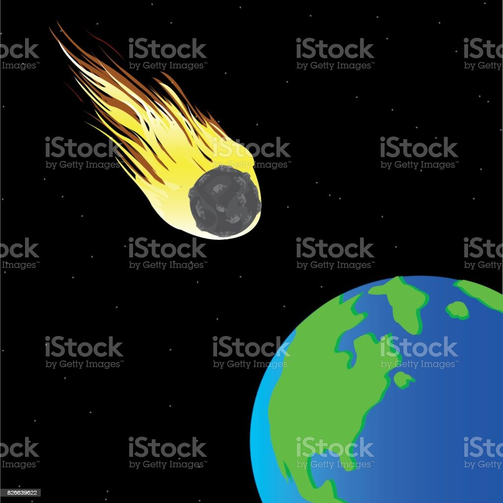 Comet and planet land vector art illustration