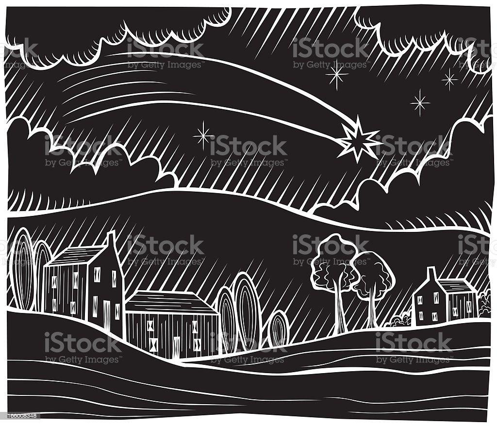 Comet black woodcut royalty-free stock vector art