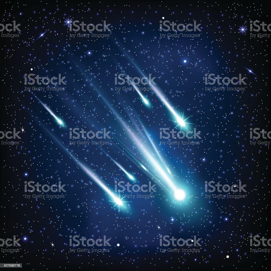 Comet in the starry sky vector art illustration