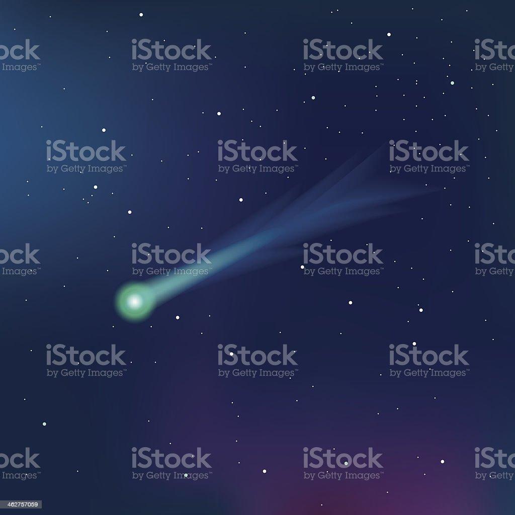 Comet on a starry sky vector illustration vector art illustration
