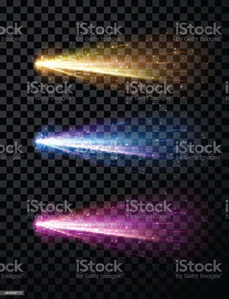 Comet set background vector art illustration