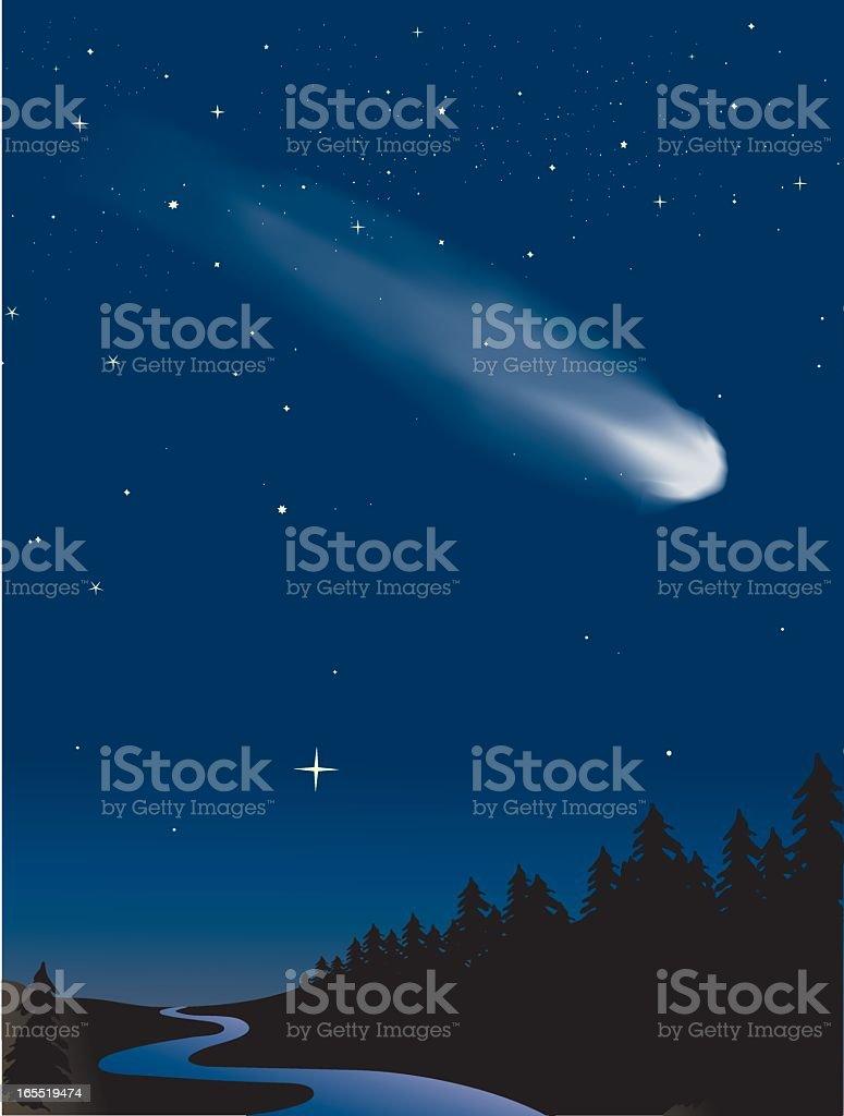 Comet traveling across the night vector art illustration