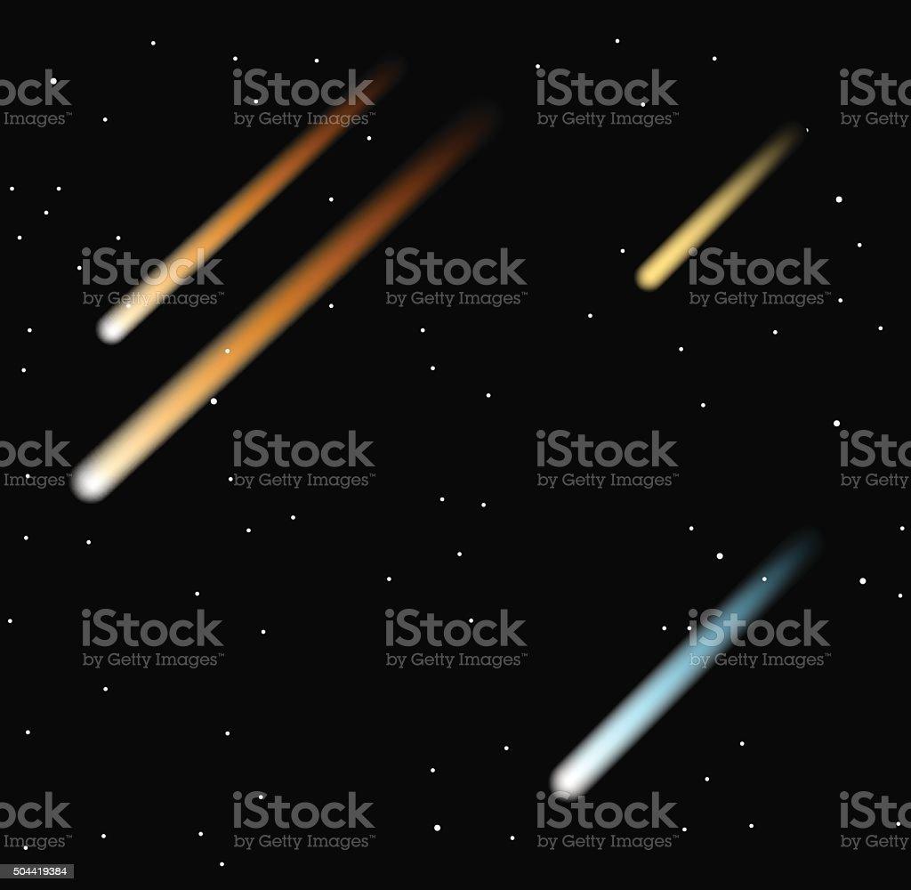 Comet vector illustration on the black background vector art illustration