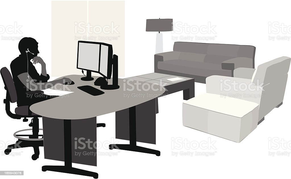Comfortable Computing Vector Silhouette vector art illustration