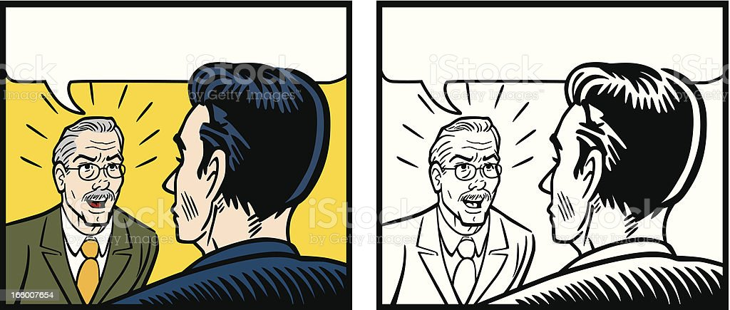 Comic Angry Boss Yelling At Employee vector art illustration