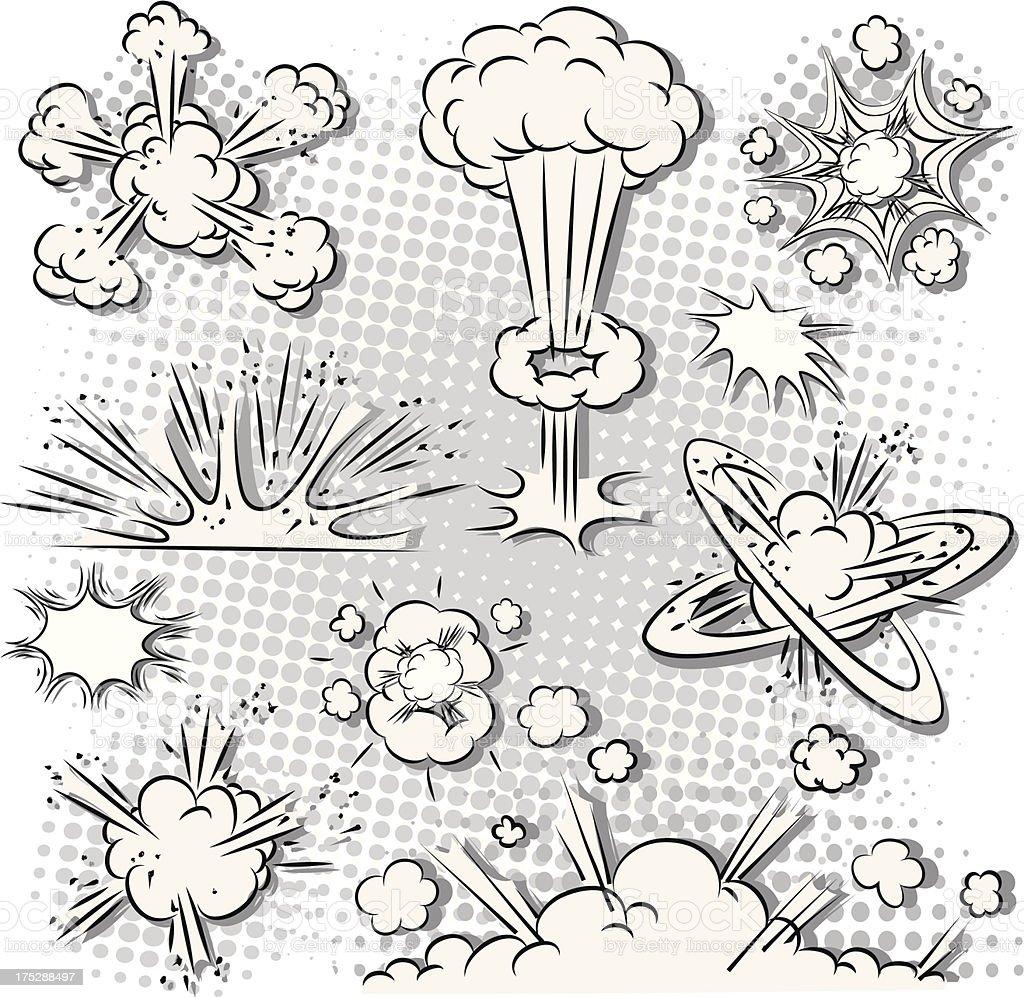 Comic book explosions vector art illustration