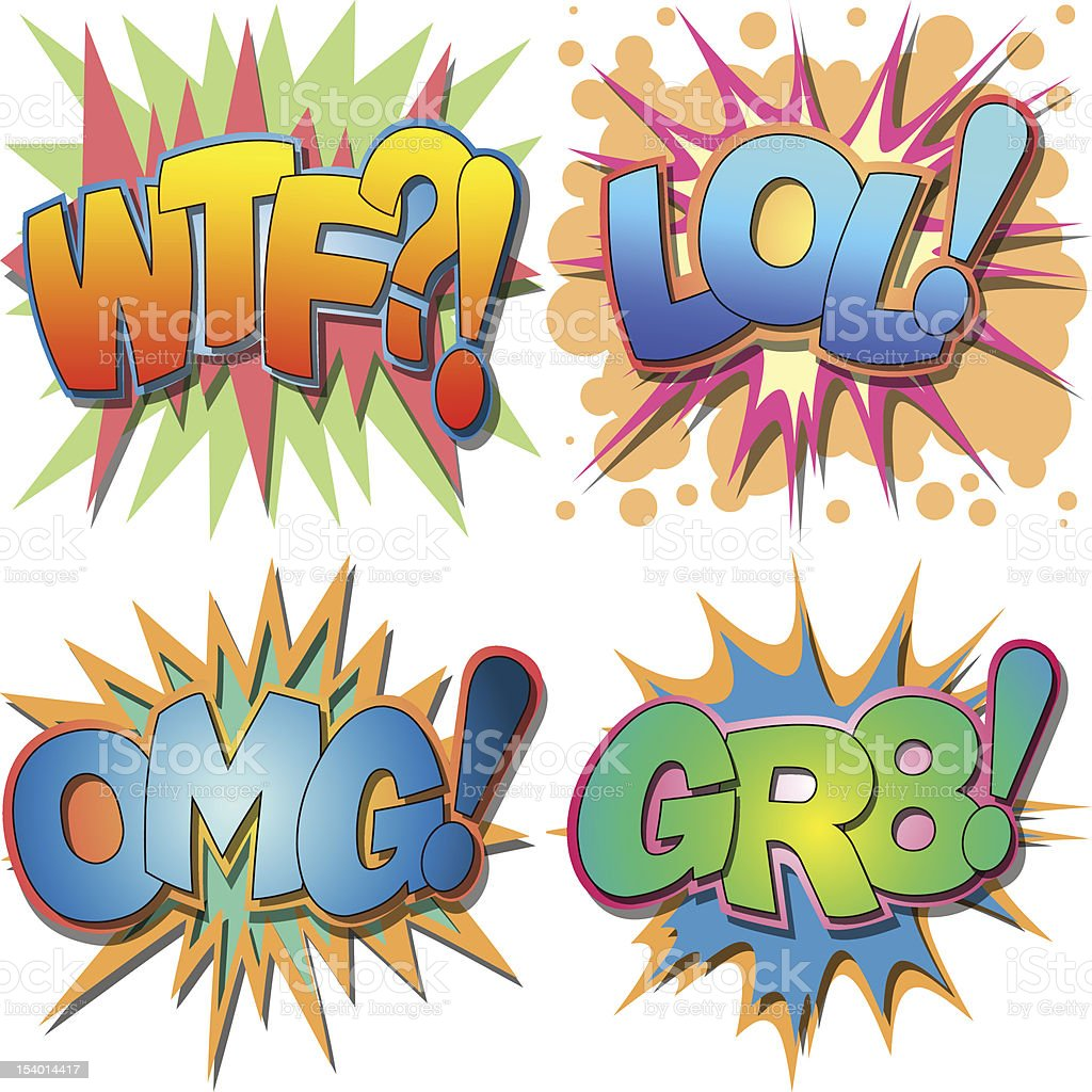 Comic book fight action speech bubbles royalty-free stock vector art