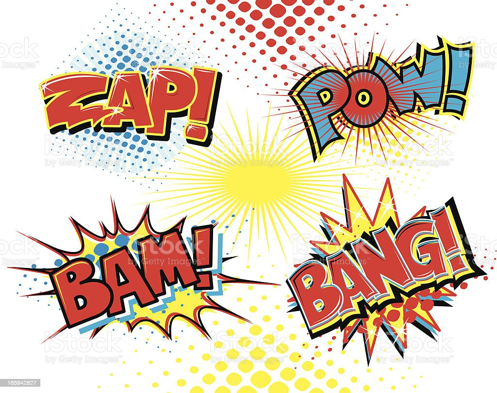 Comic Book Fight Words - Bam, Zap, Pow, Bang royalty-free stock vector art