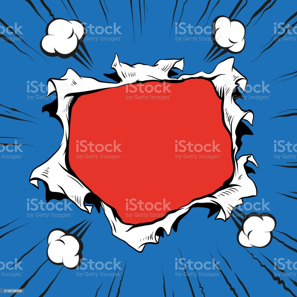 Comic book hole explosion, hand drawn vector illustration vector art illustration