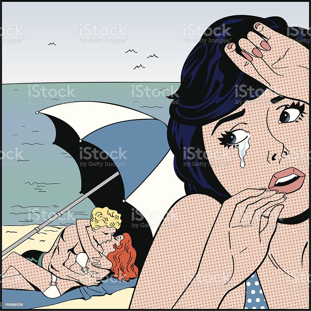 Comic book illustration depicting heartbreak vector art illustration