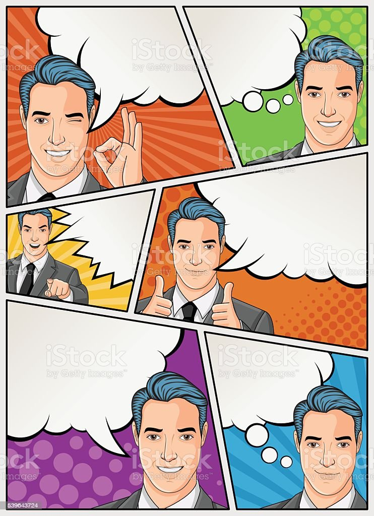 Comic book page with retro man talking vector art illustration