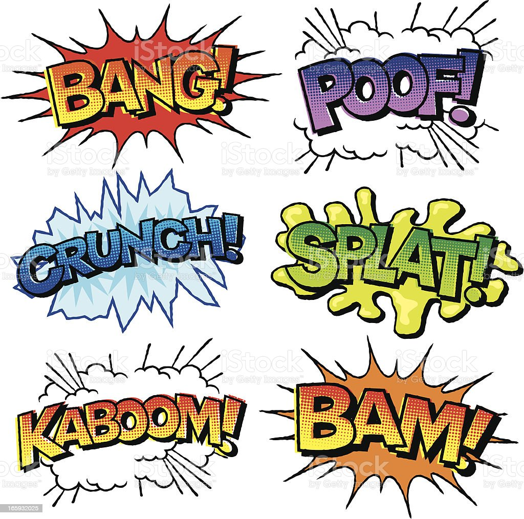 Comic Book Sound Effects Icon Set royalty-free stock vector art