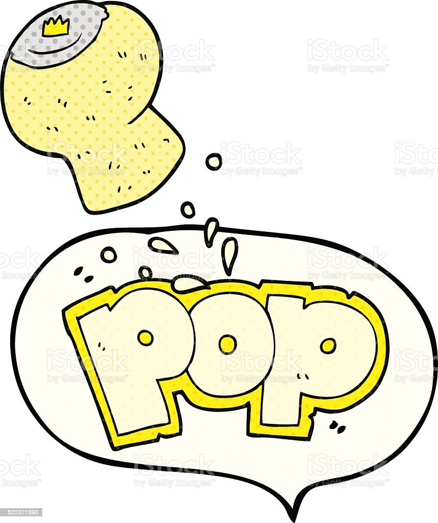 comic book speech bubble cartoon champagne cork popping vector art illustration