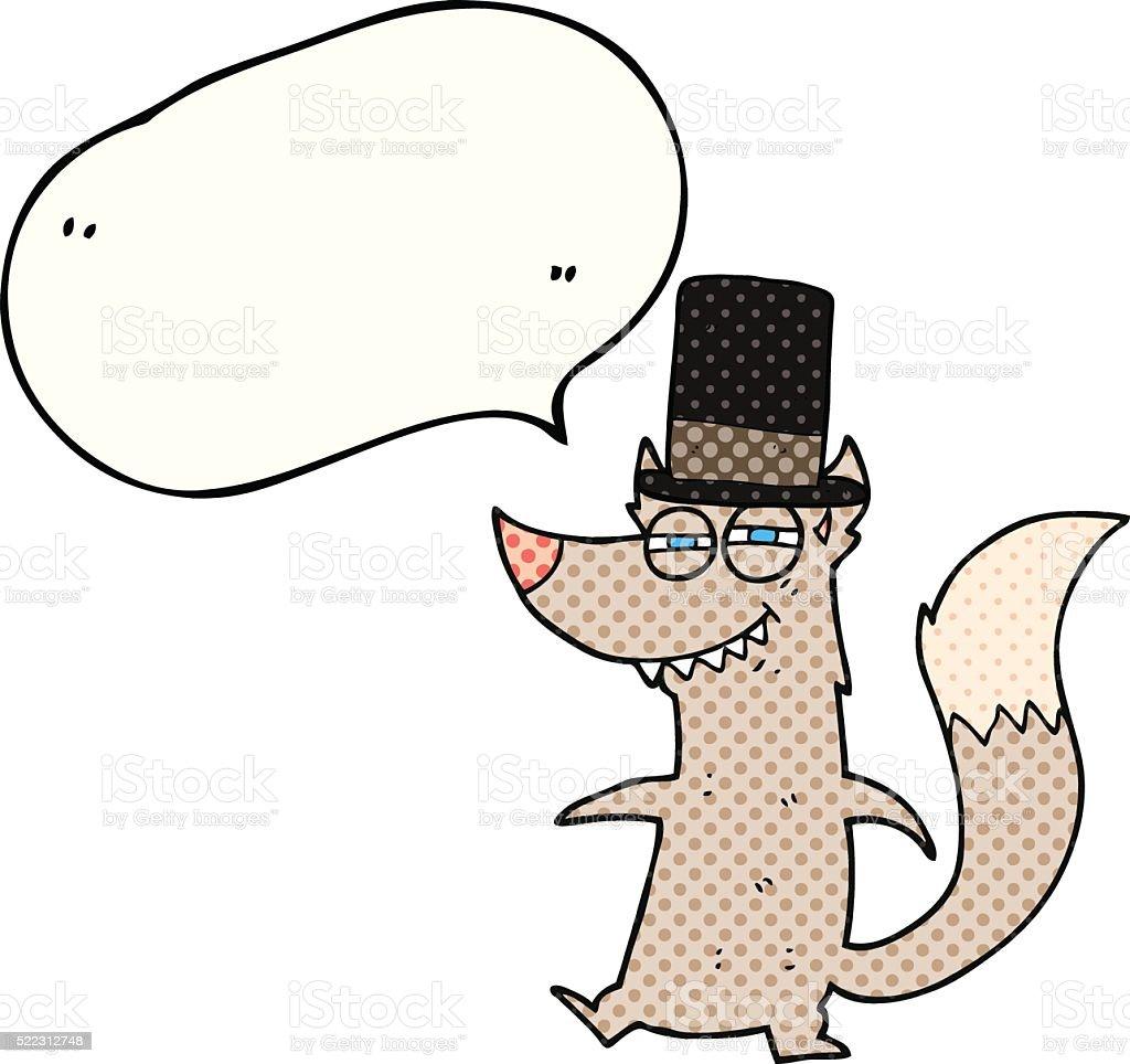 comic book speech bubble cartoon little wealthy wolf vector art illustration