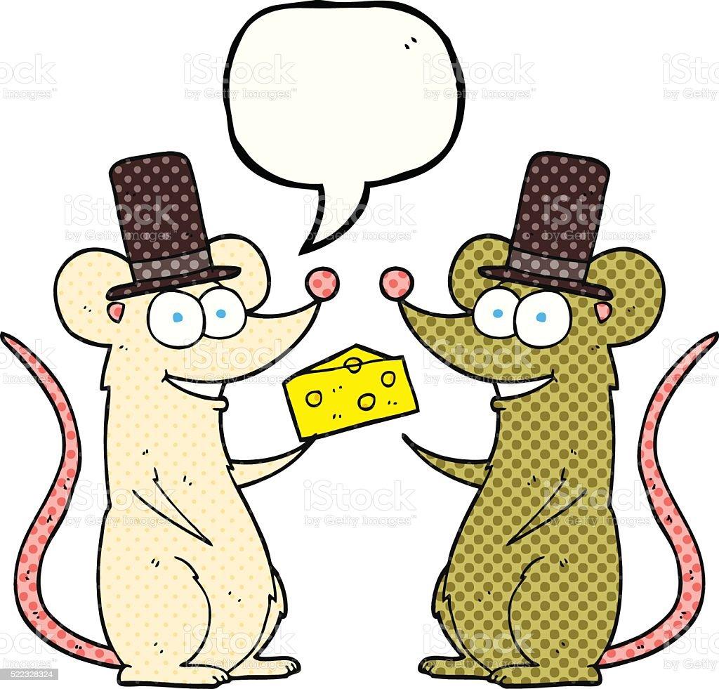 comic book speech bubble cartoon mice with cheese vector art illustration