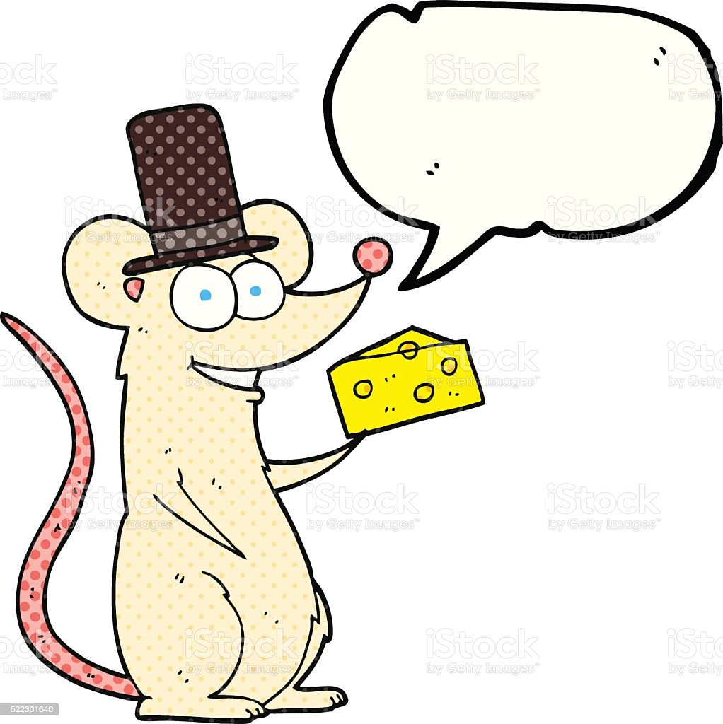 comic book speech bubble cartoon mouse with cheese vector art illustration