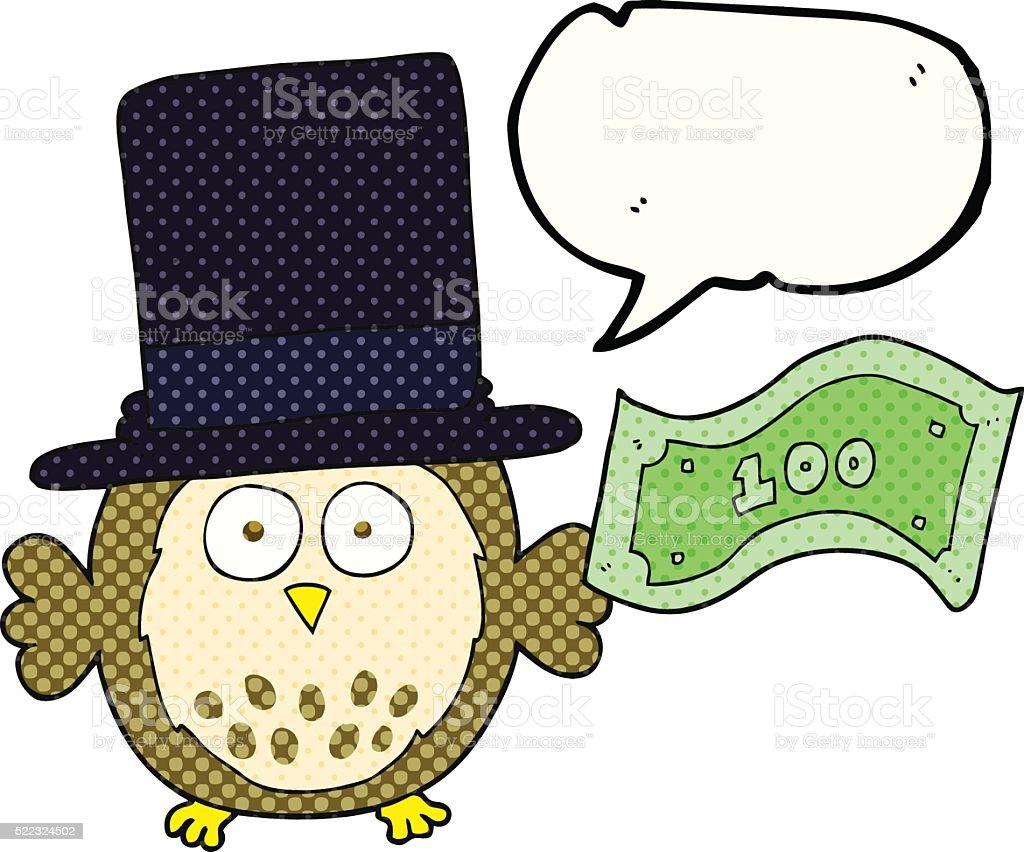 comic book speech bubble cartoon rich owl vector art illustration