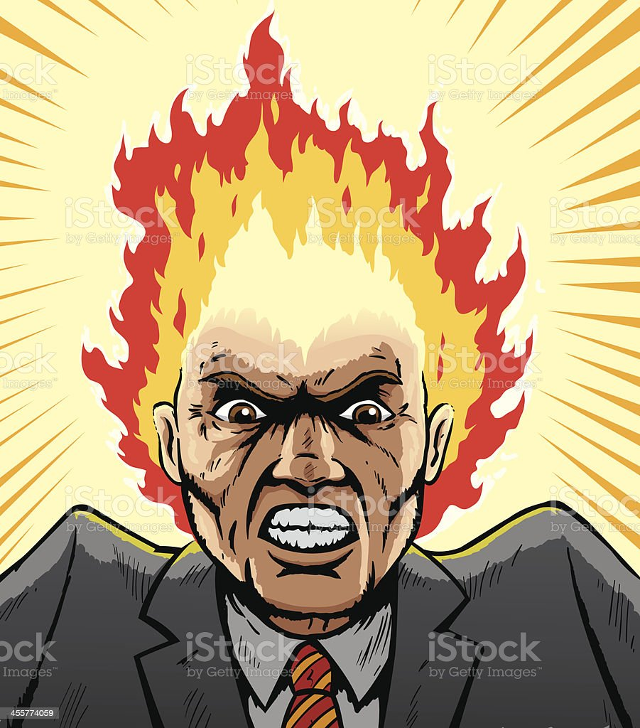 Comic book style image of a man with his head on fire vector art illustration