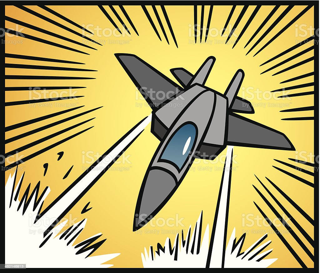 Comic Book Style Jet Plane Attacking royalty-free stock vector art