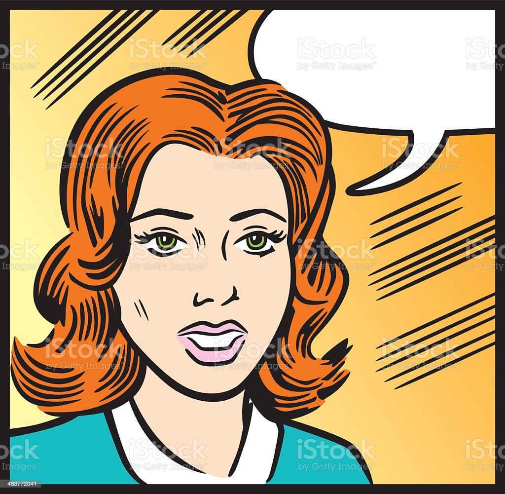 Comic Book Style Of Talking Woman royalty-free stock vector art