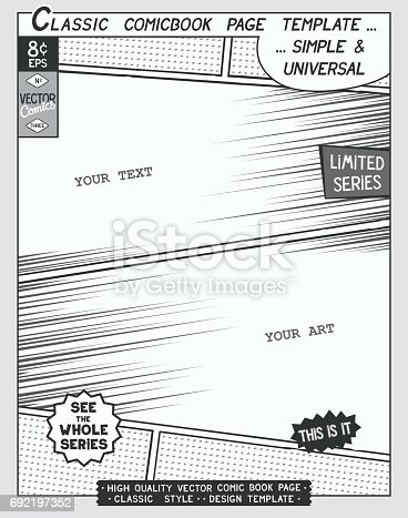 Comic Book Style Template Stock Vector Art   Istock