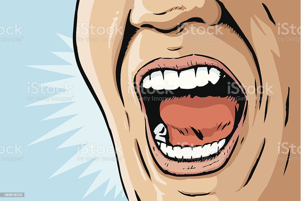 Comic book yelling mouth vector art illustration