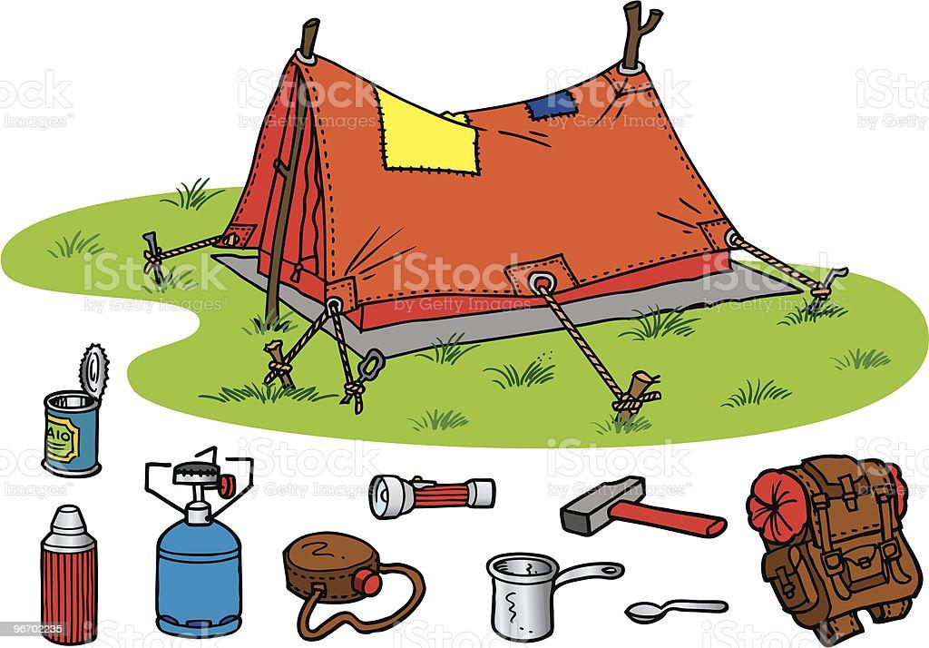 Comic Camping Tent royalty-free stock vector art