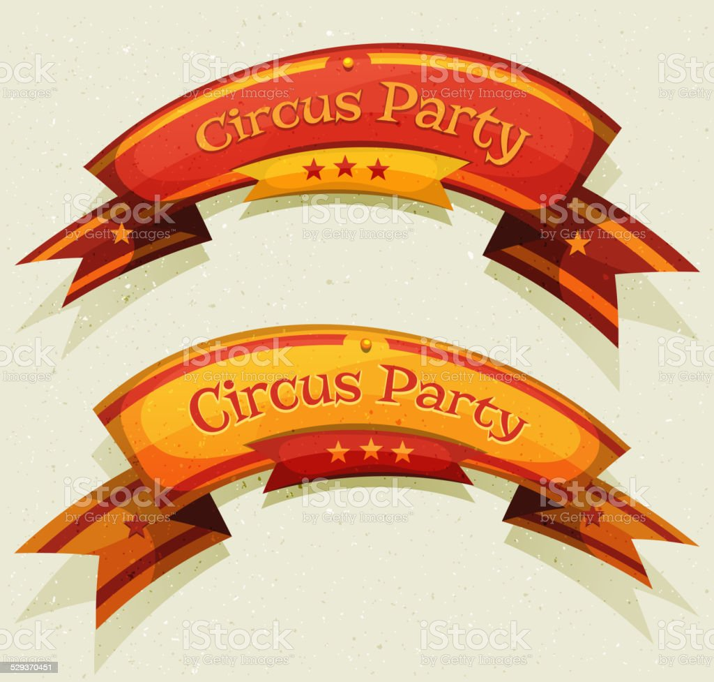 Comic Circus Party Banners And Ribbons vector art illustration