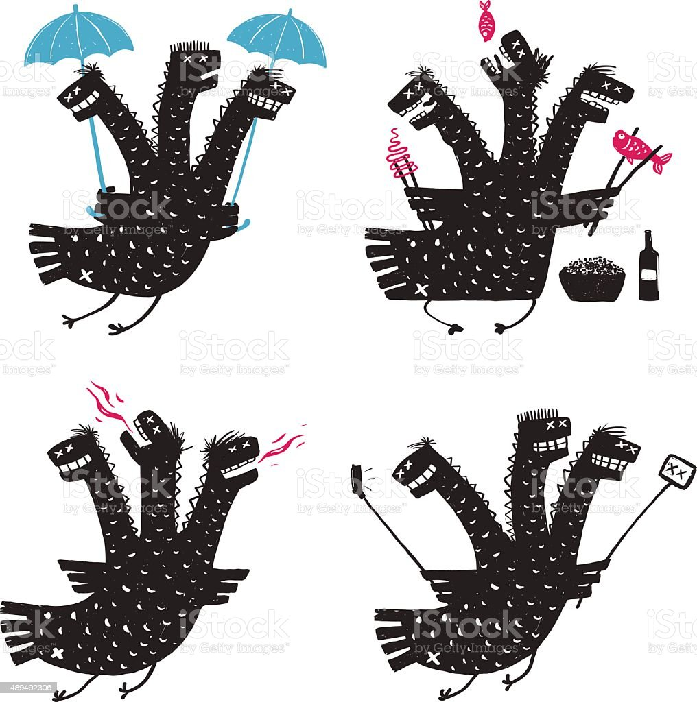 Comic Dragon Bad Character Traits Rough Hand Drawn Print Designs vector art illustration