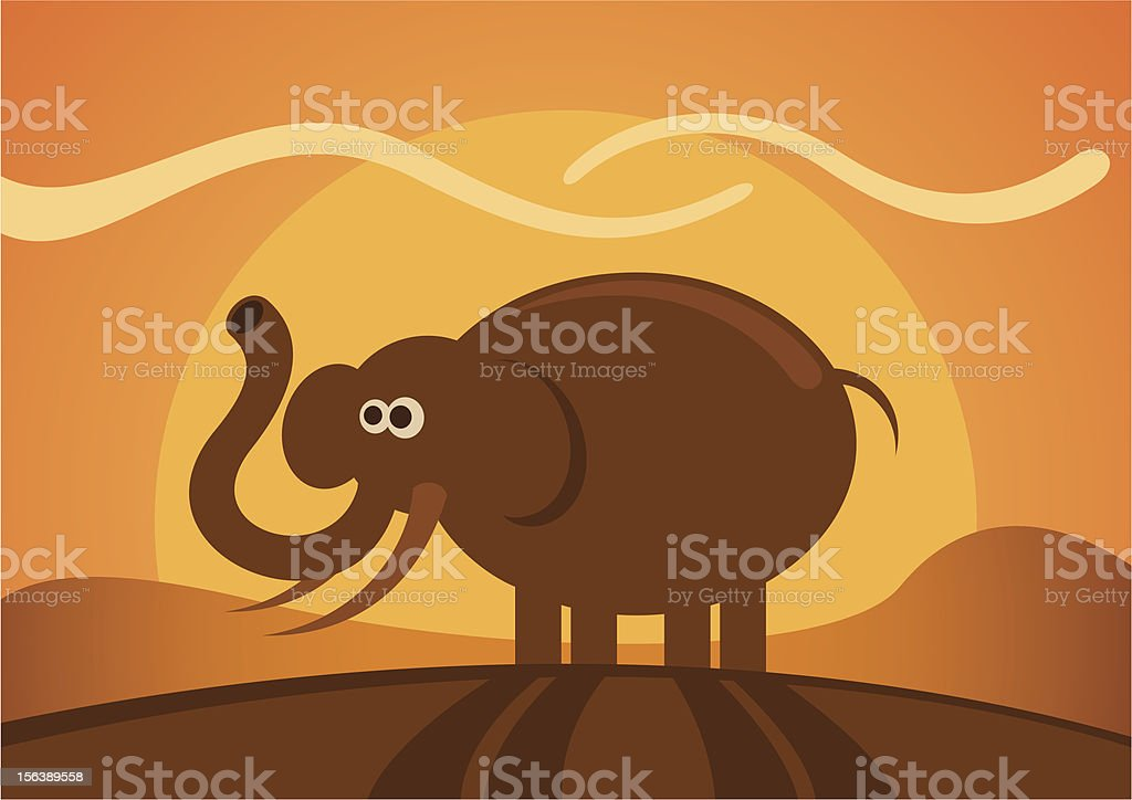 Comic elephant in the wild. royalty-free stock vector art