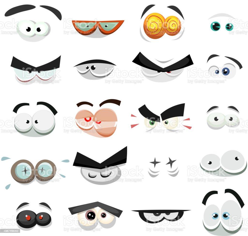 Comic Eyes Expression Set vector art illustration